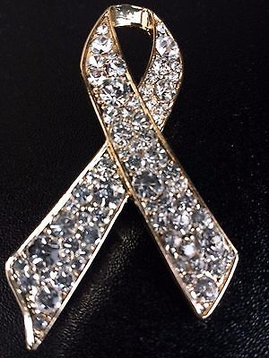 Gold Crystal Ribbon Pin Brooch Childrens Cancer Awareness + Velvet Pouch