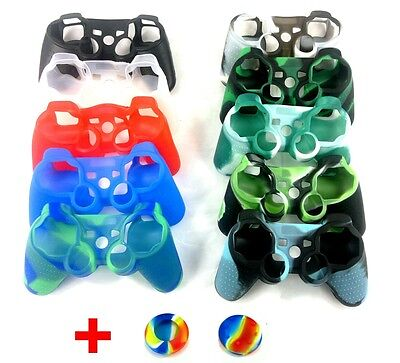 Soft Silicone Skin Controller Case Cover + Joystick Thumbstick Caps For Sony PS3