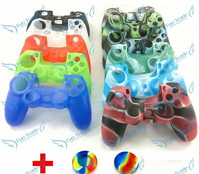 Soft Silicone Skin Controller Case Cover + Rainbow Joystick Caps For Sony PS4