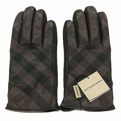 1492S guanti uomo BURBERRY BRIT CHECK  pelle nero accessori uomo gloves men