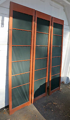 Wood Floor Display 3 Panel Hinged, Screen Divider Fabric Backing / Local Pick Up