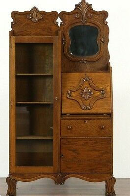 Victorian Antique 1900 Carved Oak Side by Side Secretary Desk & Bookcase