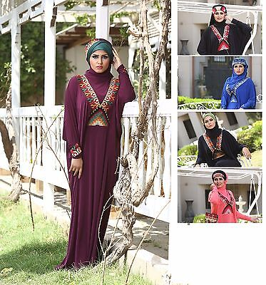 New Women Stylish Islamic embroidered Abaya Esdal Free size ( # Eman )