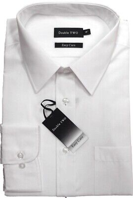 Double Two Plain White Shirt With Extra Long Sleeves For Tall Men