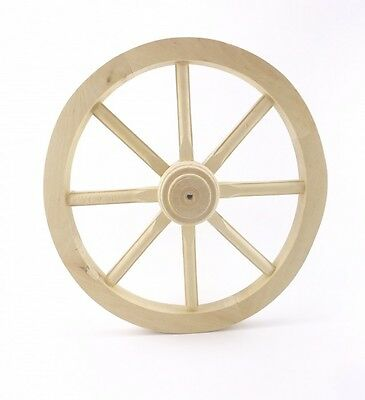 Cart wheel Medium 60 Wagon Solid Plain Wood Vintage Style Garden Home Decorat...