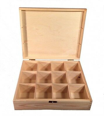 Tea Box Container 12 Compartments Natural Wood Woodeeworld