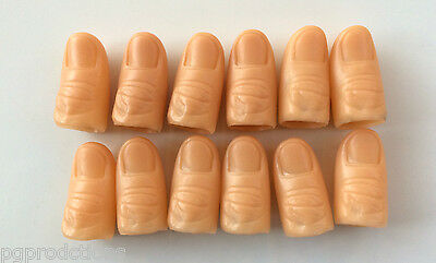 12 Pack HARD PLASTIC THUMB TIPS Finger Fake Magic Trick Magician Tip Lot Set