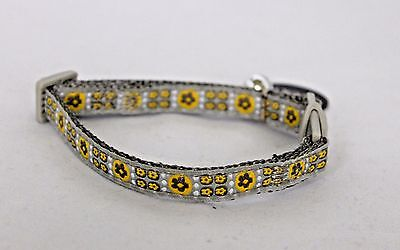 Grey & Yellow Safety Release Cat Kitten Collar With Bell Bling Cat