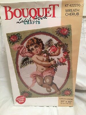 "Bouquet Wreath Cherub Angel Latch Hook Kit 30"" X 40"" NEW"