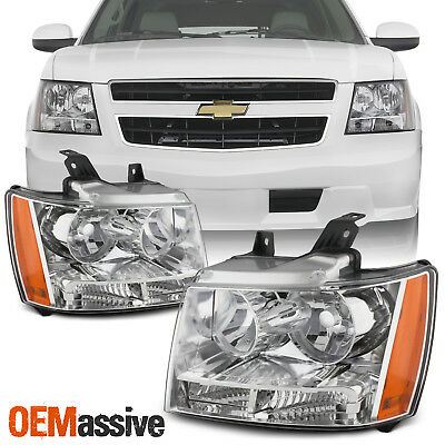 Fit 2007-2014 Suburban Tahoe Avalanche Headlights Lights 07 08 09 10 11 12 13 14