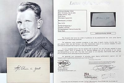 Alvin C. York World War I Medal Of Honor Recipient Hero In France Autograph   ..