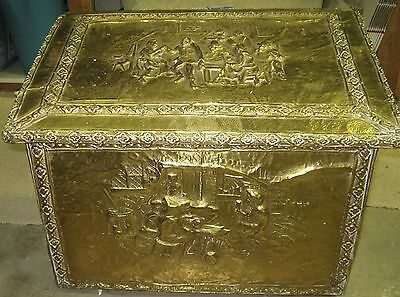 Antique English Colonial Wood Brass Embossed Coal Wood Kindling Bin Box