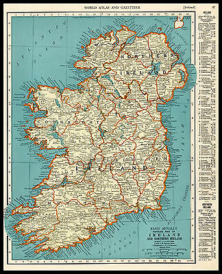 IRELAND & NORTHERN IRELAND Europe 1941 antique color lithograph Map