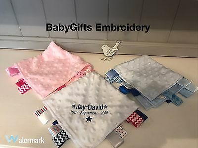 Personalised Baby Soft  Comforter Taggy Blanket Boy Girl Blue Pink Gift
