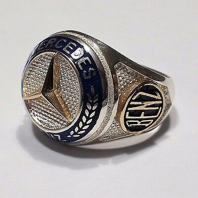 Mercedes Benz Ring Solid 925 K Sterling Silver  Mens Ring