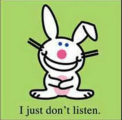 Happy Bunny Don't Listen Button B-HB-0015