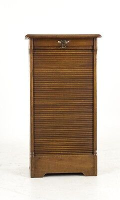 B485 Antique Victorian Walnut Tambour Front Filing Cabinet with 10 Shelves