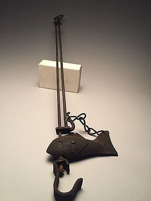17-18c Wrought Iron Hearth Trammel Forged Decorative Fish