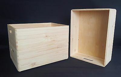 3x Plain Wood Box No Lid Chests Storage Toy Trunk Craft Handles Tools Cd Games