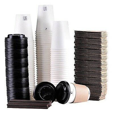Luckypack Disposable Coffee Cups To Go with Travel Lids Sleeves and Straws 10...