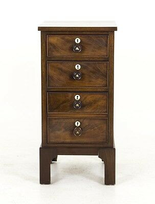 B594 Antique Scottish Victorian Mahogany 3 Drawer Miniature Chest, Night Stand