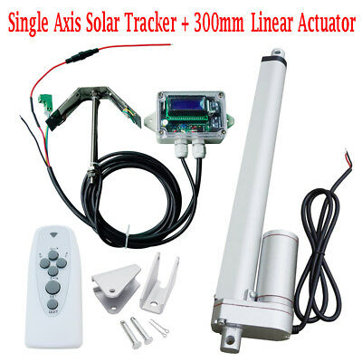 "12V Single Axis Solar Panel Tracker Tracking System Kit with 12"" Linear Actuator"