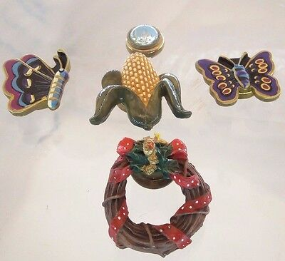5 PC Mixed Lot Vintage Button Covers Butterfly Corn Cob Wreath Dome Castle