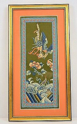 """Ching Ch'ing Dynasty Chinese Embroidery on Wool Framed Matted Glass 14.5"""" x 8"""""""
