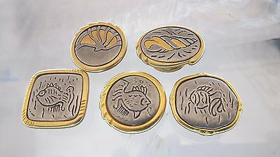5 PC Lot Vintage Beach Themed Button Covers Gold & Silver Toned Metal Fish Shell