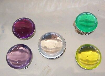 5 Pc Lot Vintage Nony New York Bubble Dome Button Covers Purple Green Yellow