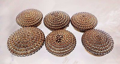 6 Pc Vintage Gold Toned Round Textured Nony New York Button Covers