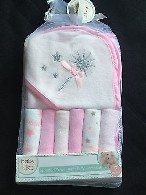Baby Kiss Hooded Towel & 6 Washcloth Gift Set Girls Pink Princess Shower Bath