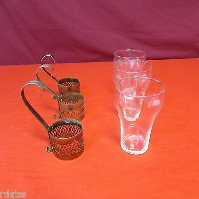 Vintage Lot Of 3 Soda Fountain Glasses With Metal Holders