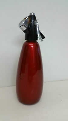 Vintage Soda Syphon Red Anodised 1960s BOC Bar Barware Retro Kitchen Mancave 50s