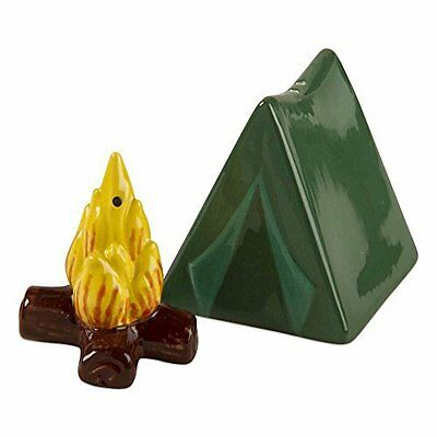 TAG Ceramic Camp Salt and Pepper Shaker Set of 2 Tent and Campfire