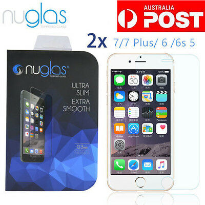 2XGenuine Nuglas Tempered Glass Screen Protector for Apple iPhone5/6/6s/7/7plus