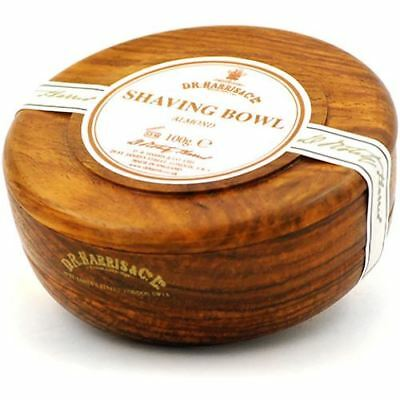 DR Harris & Co Almond Shaving Soap with Wooden Mahogany Shave Bowl