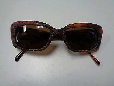 ST. JOHN Rust And Brown Blinged Out  Rectangular Sunglasses One Sz Plastic B3216