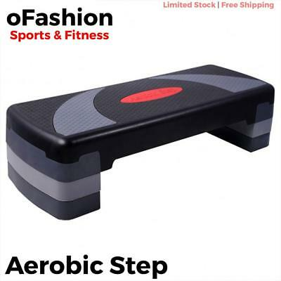 Aerobic Step Risers Bench Exercise Stepper Gym Workout Fitness Adjustable Black