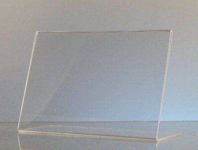 Dazzling Store Sign Holders Displays 6-pack Acrylic 6 x 4 Slanted Sign Holders