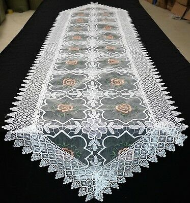 Handmade Long Lace Embroidery Table Runner Vinage Wedding White 45cm x 195cm