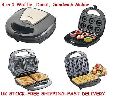 Waffle Donuts Sandwich Maker Machine Doughnut 3in1 Breakfast Fathers Day Gifts