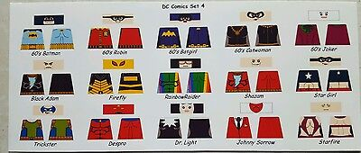 Lego Custom Minifig Glossy Decal Set Dc Comics Set 4 15 Figure Lot