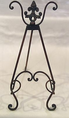 """Large 17"""" Tall FRENCH COUNTRY Bronze Finish Metal Easel Art Display Holder Stand"""