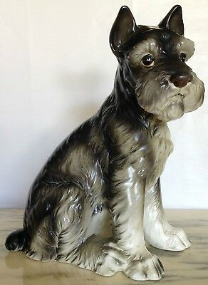 Vintage Lefton LARGE Size Schnauzer Terrier - Realistic Sitting Dog Masterpiece!