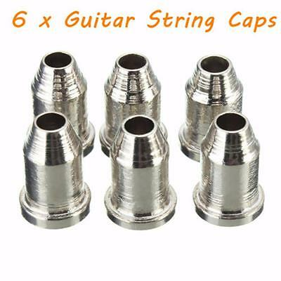 "6Pcs Chrome Temperament Telecaster Guitar String Caps 1/4"" String Ferrules"