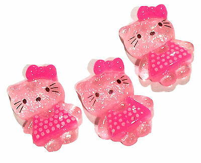 3 pcs Pink JUMBO glitter bow resin cabochon 54x40mm headband DIY