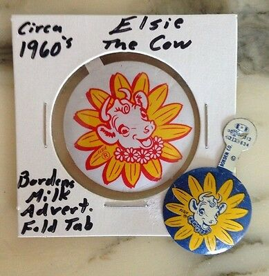2 Vintage Borden's Advertising Fold Tab Metal Buttons Featuring Elsie The Cow!