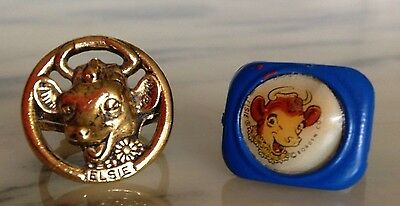 Try These 2 Vintage Iconic Borden's Elsie The Cow Child's Rings On For Size!