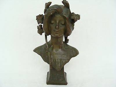antique Art Nouveau Bronze Lady Lys Bust Figurine Statue Julien Causse French